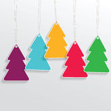 Christmas tree price sticker on the grey background Royalty Free Stock Images