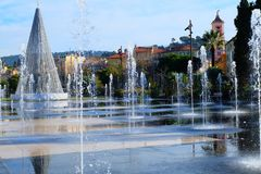 Christmas tree on the Promenade du Paillon of Nice City, France royalty free stock photos