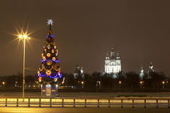 Christmas tree on the promenade of Sverdlovsk. St. Petersburg. Royalty Free Stock Photo