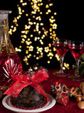 Christmas tree and pudding Stock Image