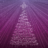 Christmas tree on purple background. Xmas card with rays of light Royalty Free Stock Image