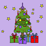 Christmas tree on purple background Royalty Free Stock Image