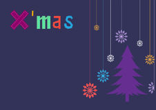 Christmas tree on purple  backgrounds,Design of merry Christmas cards Stock Photo
