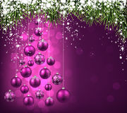 Christmas tree with purple christmas balls. Vector illustration Royalty Free Stock Image