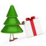 Christmas tree push gift. Christmas tree green push red gift box Royalty Free Stock Images