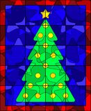 Christmas tree quilt. Christmas tree formed out of abstract quilt patches Stock Photos
