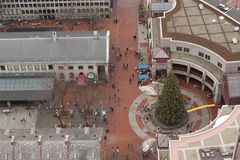 Christmas Tree at Quincy Market, Boston Royalty Free Stock Photo
