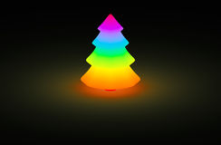 Christmas tree rainbow color glow Stock Photography