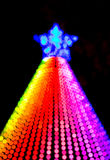 Christmas tree rainbow color lights. Electronic Christmas tree decoration with rainbow color lights Royalty Free Stock Photos
