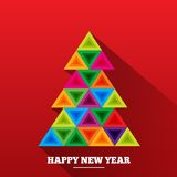 Christmas tree in rainbow triangles. Royalty Free Stock Photo