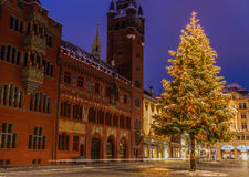 Christmas tree, Rathaus, Basel. Christmas tree and decorations in front of the 14th century town hall, the Rathaus, which is the seat of the government of the stock image