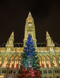 Christmas Tree at Rathaus in Vienna with the French Flag Colors Stock Photos