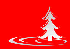 Christmas tree on red Stock Image