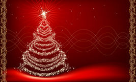 Christmas tree on red. Christmas tree in horizontal composition stock illustration