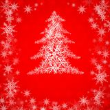 Christmas tree on red. Red christmas background with Christmas tree, vector illustration Royalty Free Stock Photos