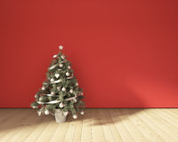 Christmas Tree On A Red Stock Photo