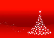 Christmas tree on red. Background with cpy - cat space Stock Photos