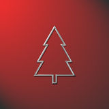 Christmas tree red. Silver chirstmas tree on a red background Royalty Free Stock Images