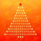 Christmas tree and red abstract background. Abstract white Christmas tree on a red and yellow background vector illustration