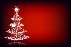 Christmas tree-red background Stock Photos