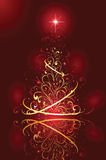 Christmas tree on red background Royalty Free Stock Image