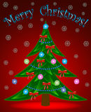 Christmas tree on red background Stock Photos