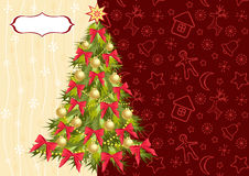 Christmas tree on the red background. Stock Images