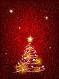 Christmas tree on the red background Stock Photography