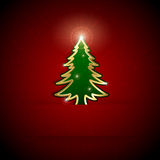 Christmas tree on red background Royalty Free Stock Photo