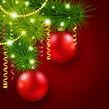 Christmas tree on a red background Stock Photos