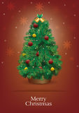 Christmas tree with red background. Christmas tree on a red background Stock Photos