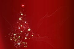 Christmas Tree Red Background Royalty Free Stock Images