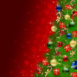 Christmas tree on red background with baubles. Background with Christmas tree, gift boxes, candy and balls, illustration Stock Photography