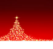 Christmas tree on red background. Stock Photography