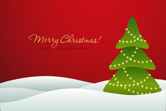 Christmas tree on red background card Stock Photo