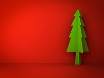 Christmas tree on red background for christmas decoration Royalty Free Stock Photography