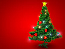 Christmas tree. On red background.3d illustration Royalty Free Stock Photography