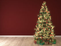 Christmas tree on red background. 3d rendering Stock Image