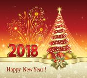 Happy New Year 2018 with a Christmas tree. Christmas tree on a red background with fireworks Stock Photos