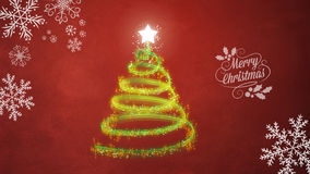 Christmas tree on red background. Green Christmas tree on red background Stock Image