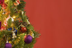 Christmas Tree With Red Background Stock Photo