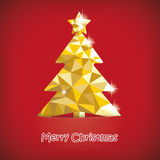 Christmas Tree Red Background. Christmas tree with low poly design on the red background Royalty Free Stock Photo