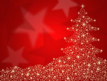 Christmas tree red background with stars stock illustration