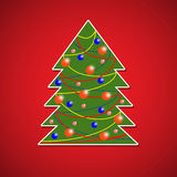Christmas tree. The Christmas tree on a red background. Vector illustration Stock Photo