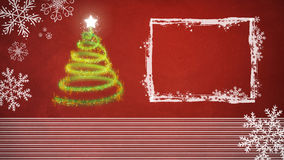 Christmas tree on red background with white frame. And ornaments Royalty Free Stock Photography