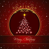 Christmas tree on a red background for your happy holiday Stock Photos