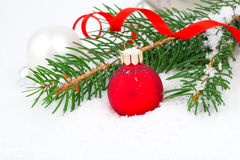 Christmas tree and red ball on snow Stock Photos