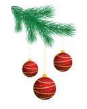 Christmas tree with red balls Stock Images