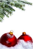 Christmas tree and red balls Stock Photos