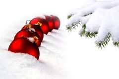Christmas tree and red balls Stock Photo